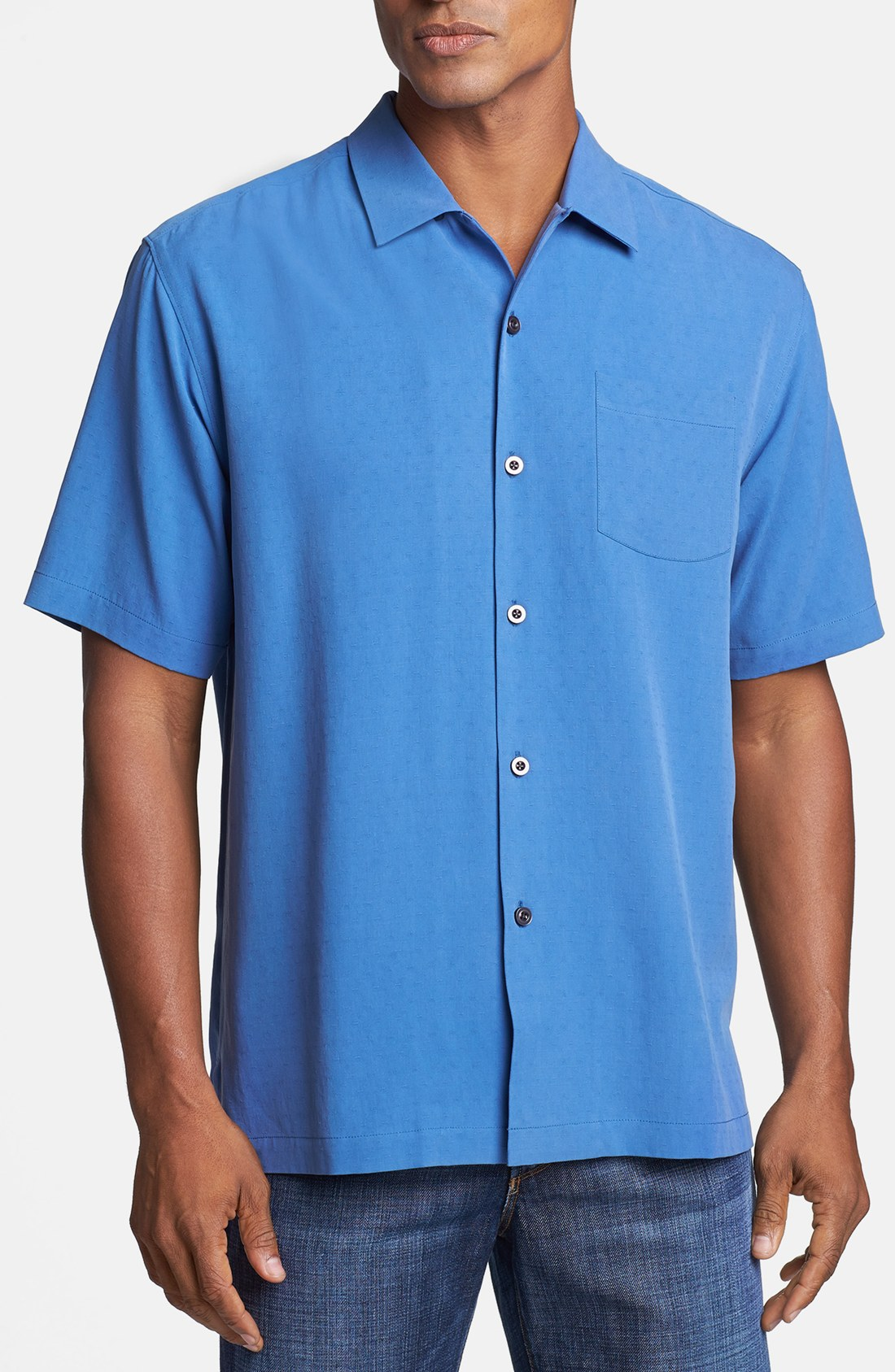 Tommy Bahama Dobby Camp Shirt in Blue for Men Dutch Blue