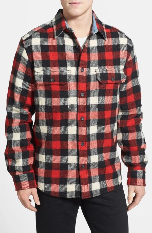 Woolrich Wool Buffalo Shirt In Red Men Multi