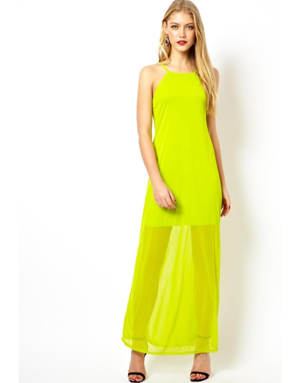 Asos Cami Sheer Maxi Dress in Yellow Chartreuse Lyst