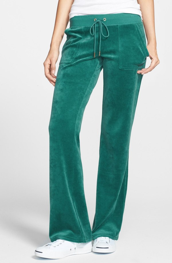 Juicy Couture Bling Velour Pants In Green Wild Child Lyst