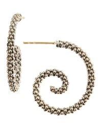 Lyst - Lagos Caviar Beaded Silver Hoop Earrings in Metallic