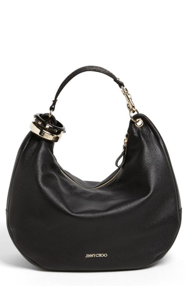 Jimmy Choo Solar Large Leather Hobo In Black Lyst