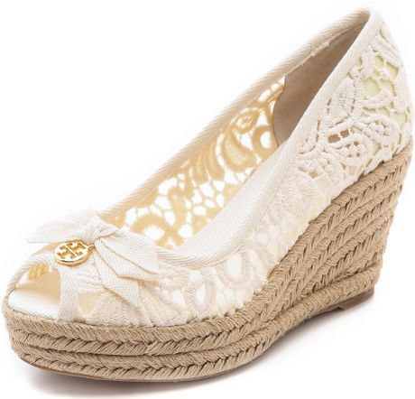 Tory Burch Peep Toe Wedge Espadrille