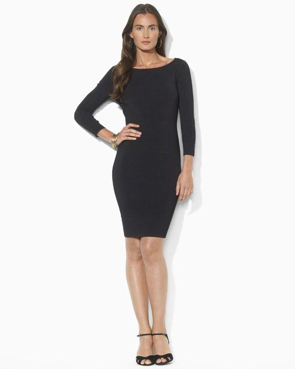 Ralph Lauren Cold Shoulder Bateau Neck Dress In Black Lyst