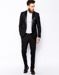 Asos Slim Tuxedo Suit Jacket in Black for Men | Lyst