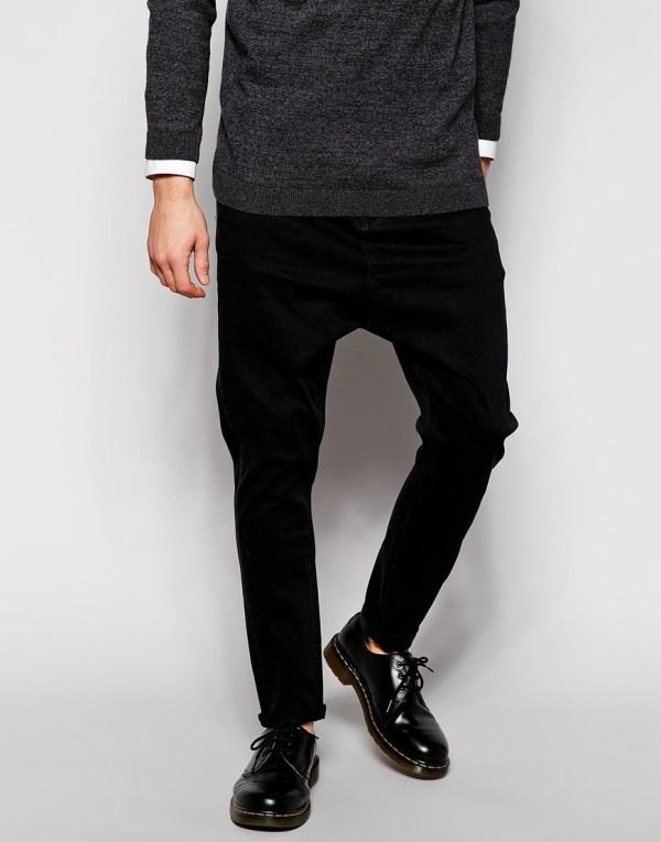 Asos Drop Crotch Jeans - Black In Men Lyst