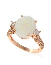 Effy 14k Rose Gold Opal And Diamond Ring in White | Lyst