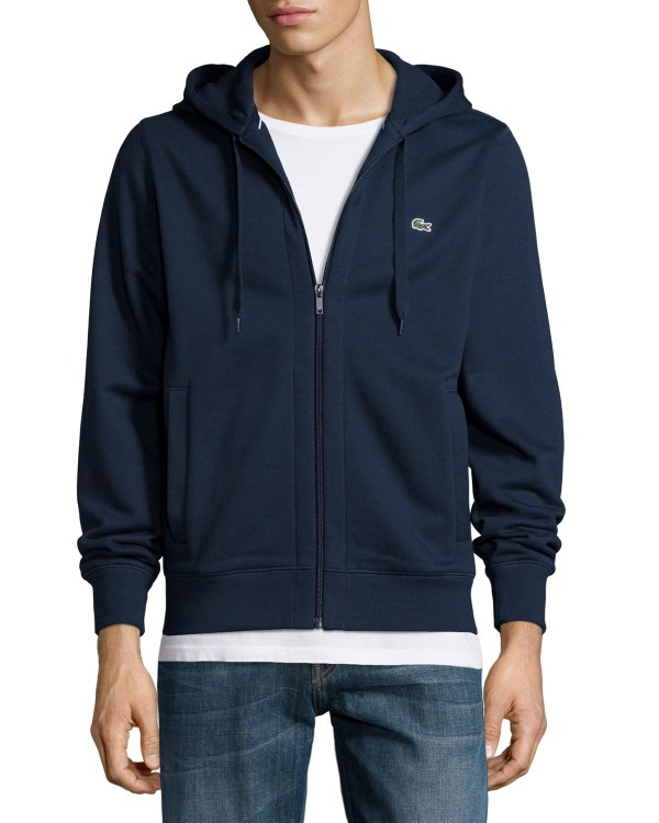 Lyst - Lacoste Full-zip Fleece Hoodie In Blue Men
