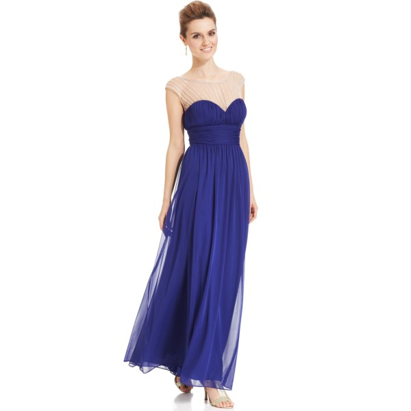 Xscape Sleeveless Illusion Sweetheart Gown In Blue Royal