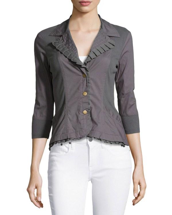 Lyst - Xcvi Eloise Ruffle-trim Blazer Jacket In Gray