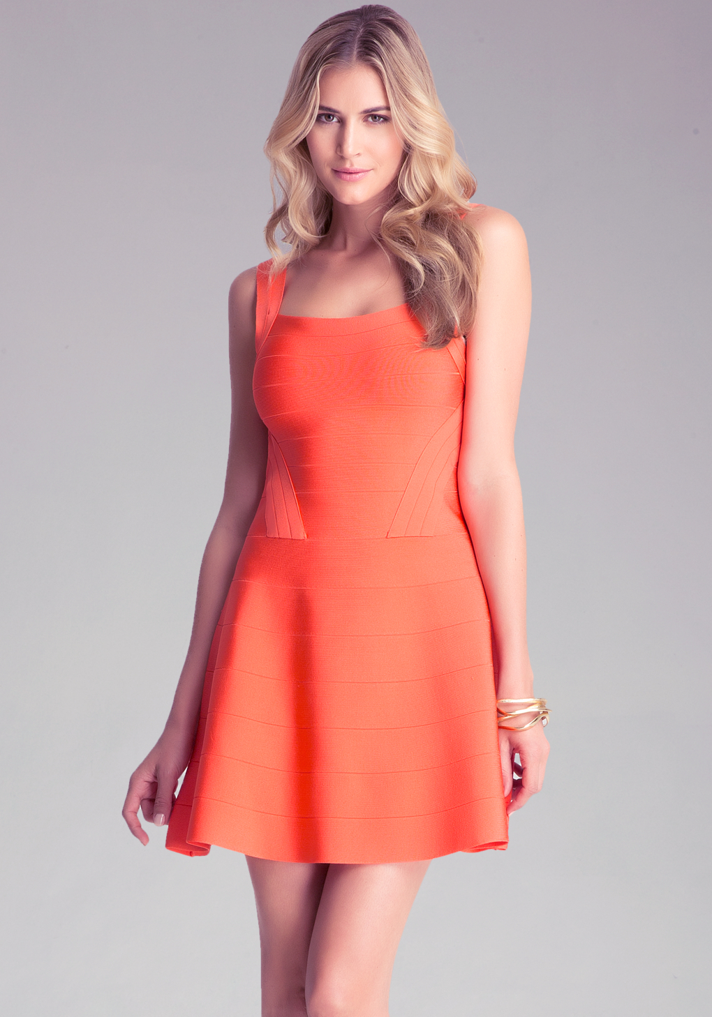 Lyst  Bebe Colorblock Fit N Flare Dress in Red