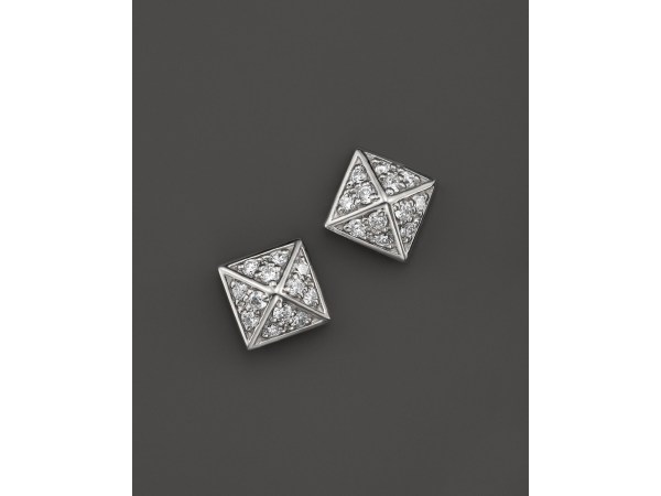 Kc Design Diamond Pyramid Stud Earrings In 14k White Gold