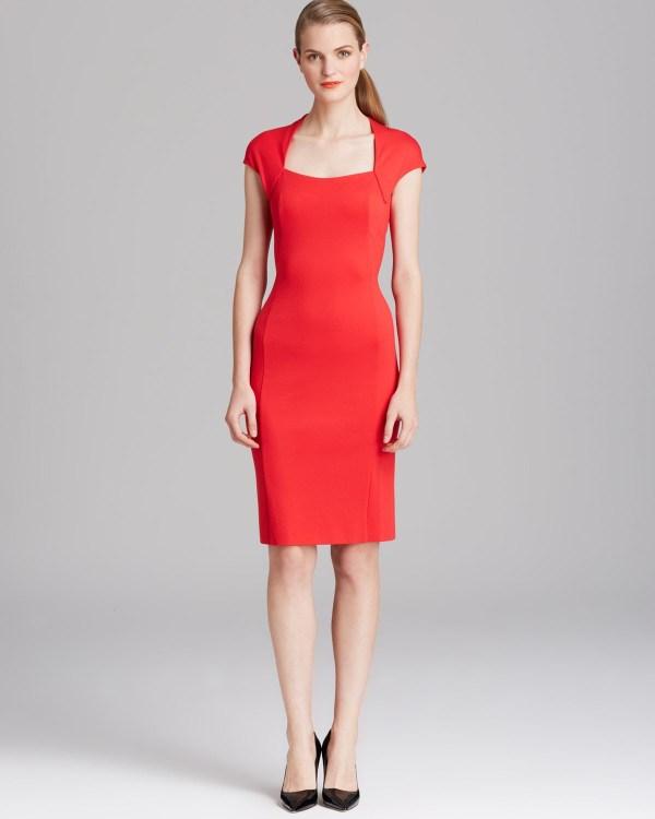 Lyst - Escada Dress Donde Cap Sleeve In Red