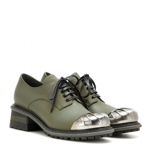Lyst - Miu Embellished Leather Derby Shoes In Green
