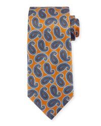 Ermenegildo zegna Large Paisley-print Silk Tie in Orange ...