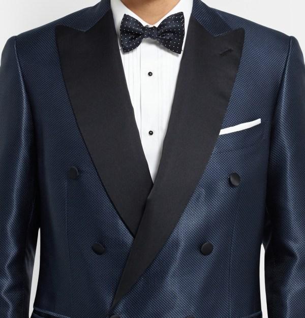 Brioni Blue Slim-fit Silk-jacquard Tuxedo Jacket In