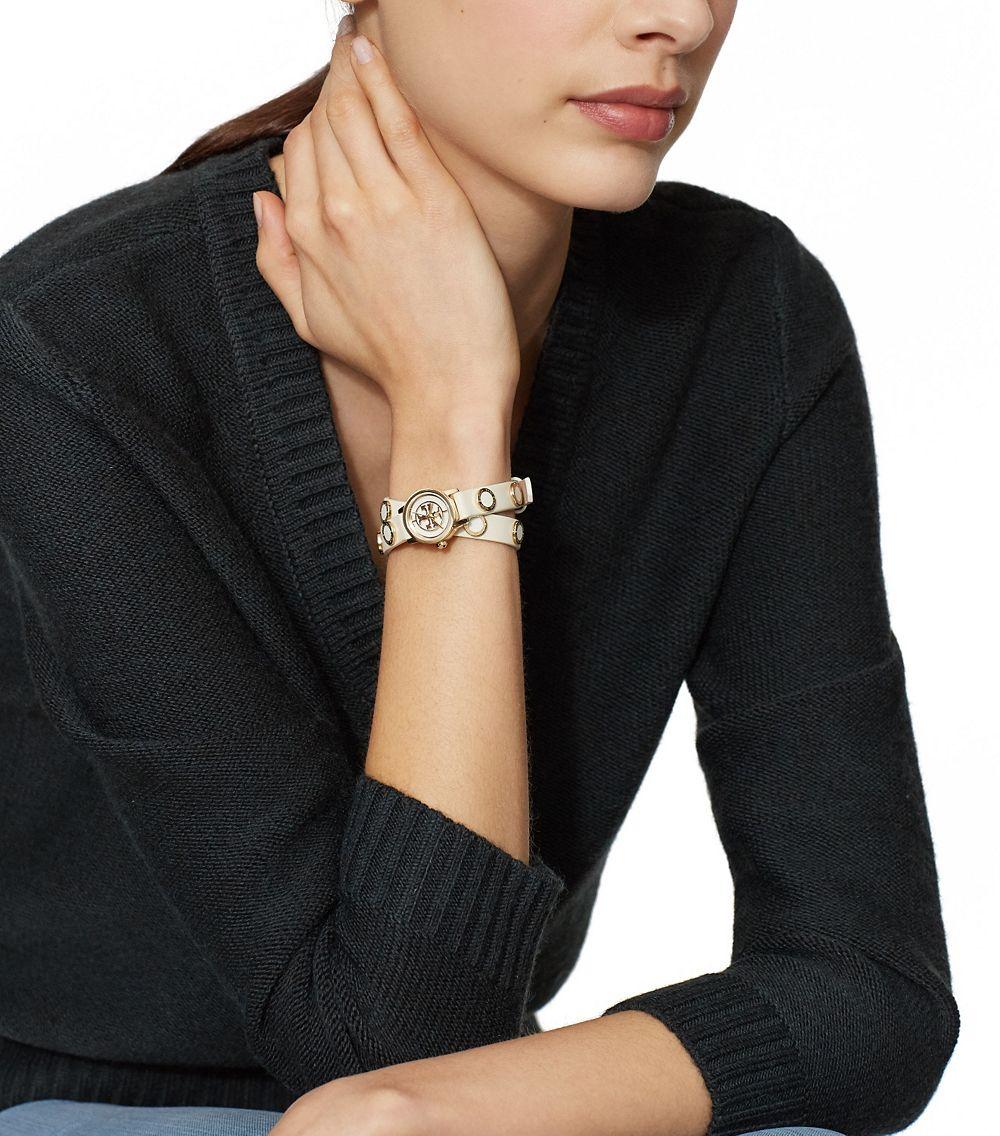 Tory Burch Reva Mini Studded Double Wrap Watch Ivory