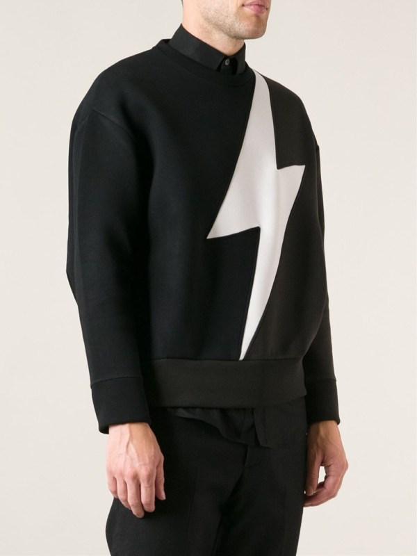 Neil Barrett Lightning Print Sweater In Black Men Lyst