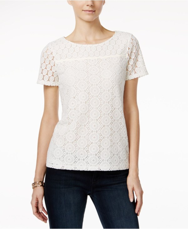 Charter Club Crochet Lace Pullover Top Macy' In