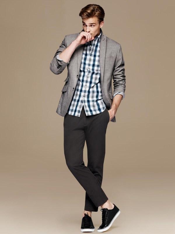 Banana Republic Modern Slim-fit Grey Suit Jacket In Gray