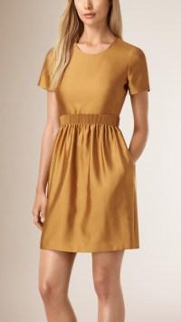 Burberry Silk Wool A-line Dress in Brown - Lyst