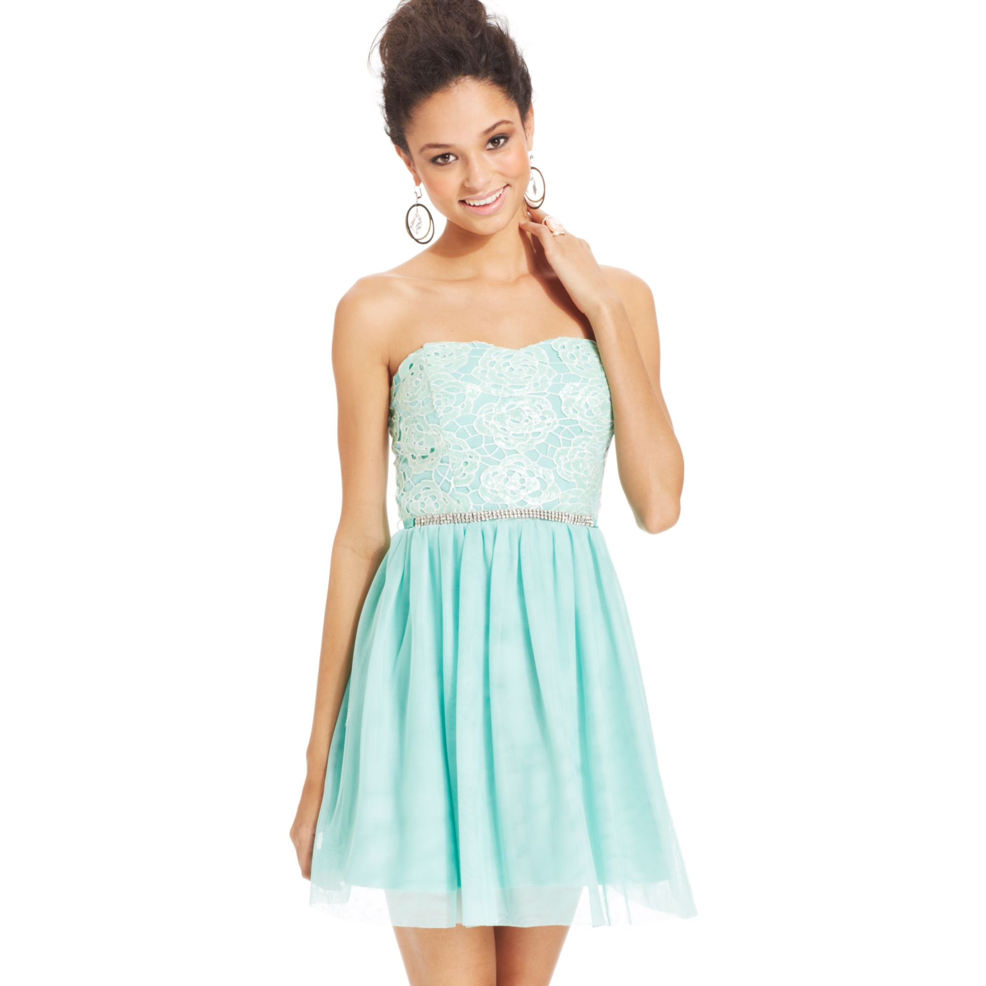 Lyst  As U Wish Juniors Strapless Lace Aline Dress in Blue