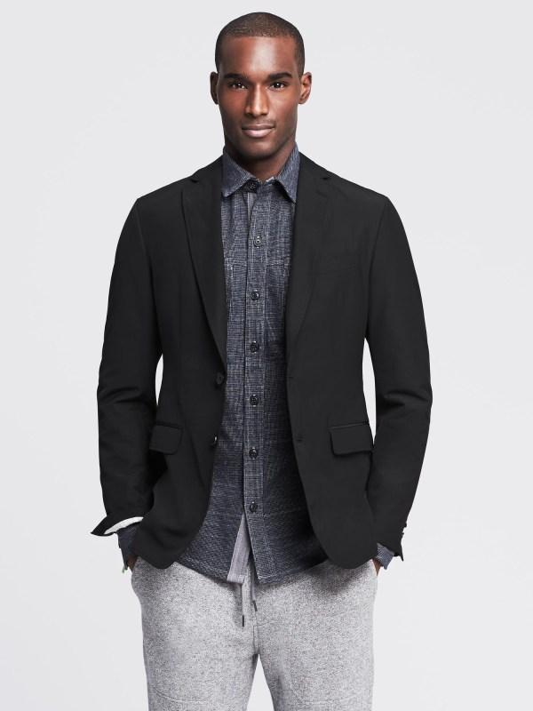 Banana Republic Modern Slim-fit Black Nylon Blazer In Gray
