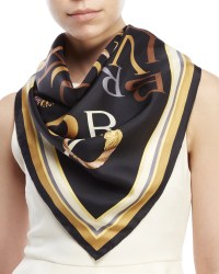 Bvlgari Printed Silk Scarf in Black