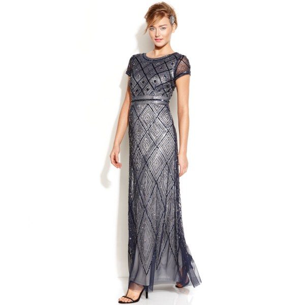Adrianna Papell Cap-sleeve Beaded Illusion Gown In Blue