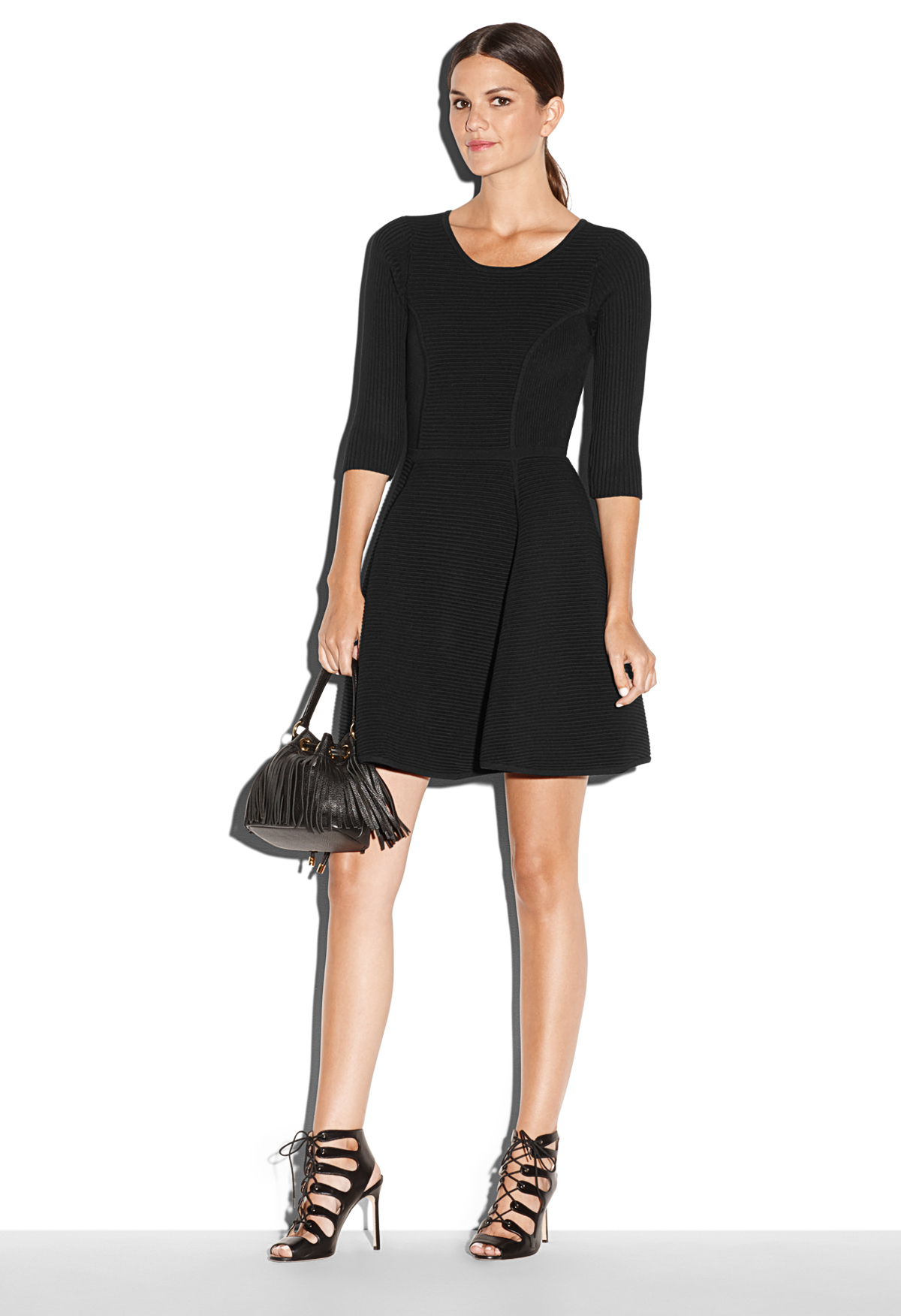 Lyst  Milly Textured Fit And Flare Dress in Black