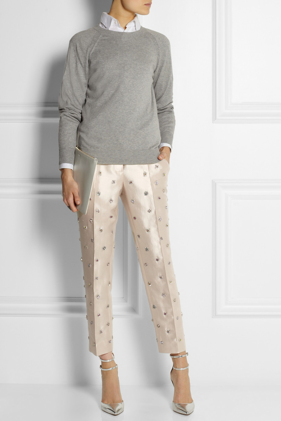Lyst  Jcrew Collection Embellished Shantung StraightLeg Pants in White