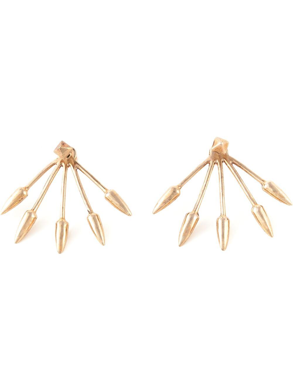 Pamela love Five Spike Stud Lobe Earrings in Pink