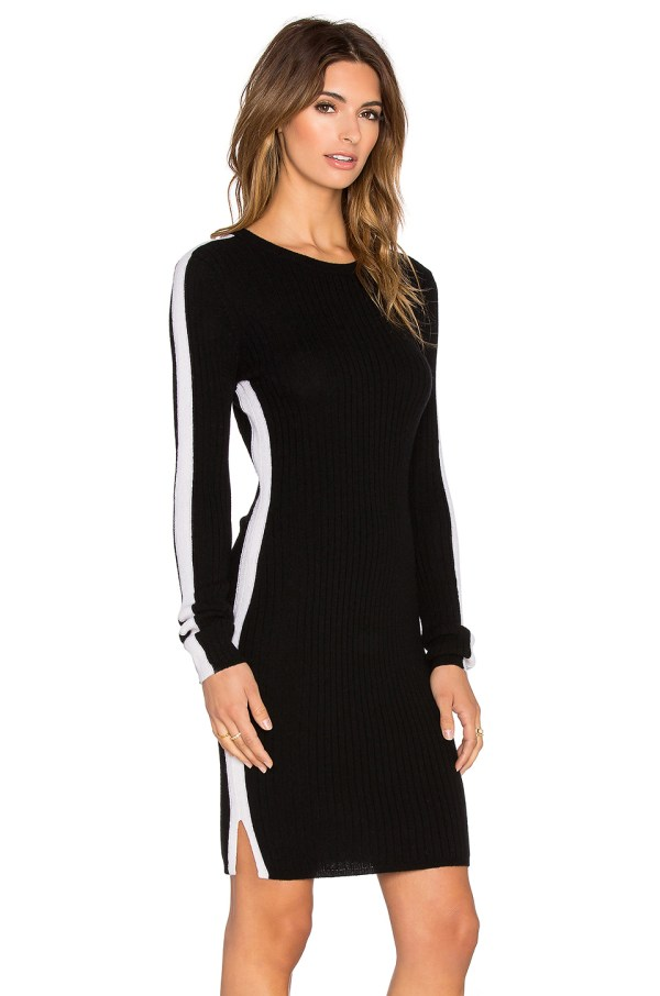 Autumn Cashmere Ribbed Racing-striped Dress In Black Lyst