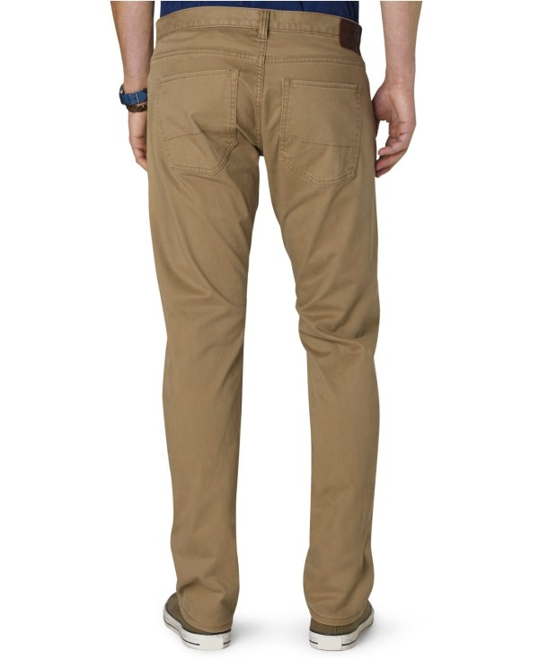 Dockers 5-pocket Khaki Straight Fit Stretch Flat Front Pants In Natural Men Carmel