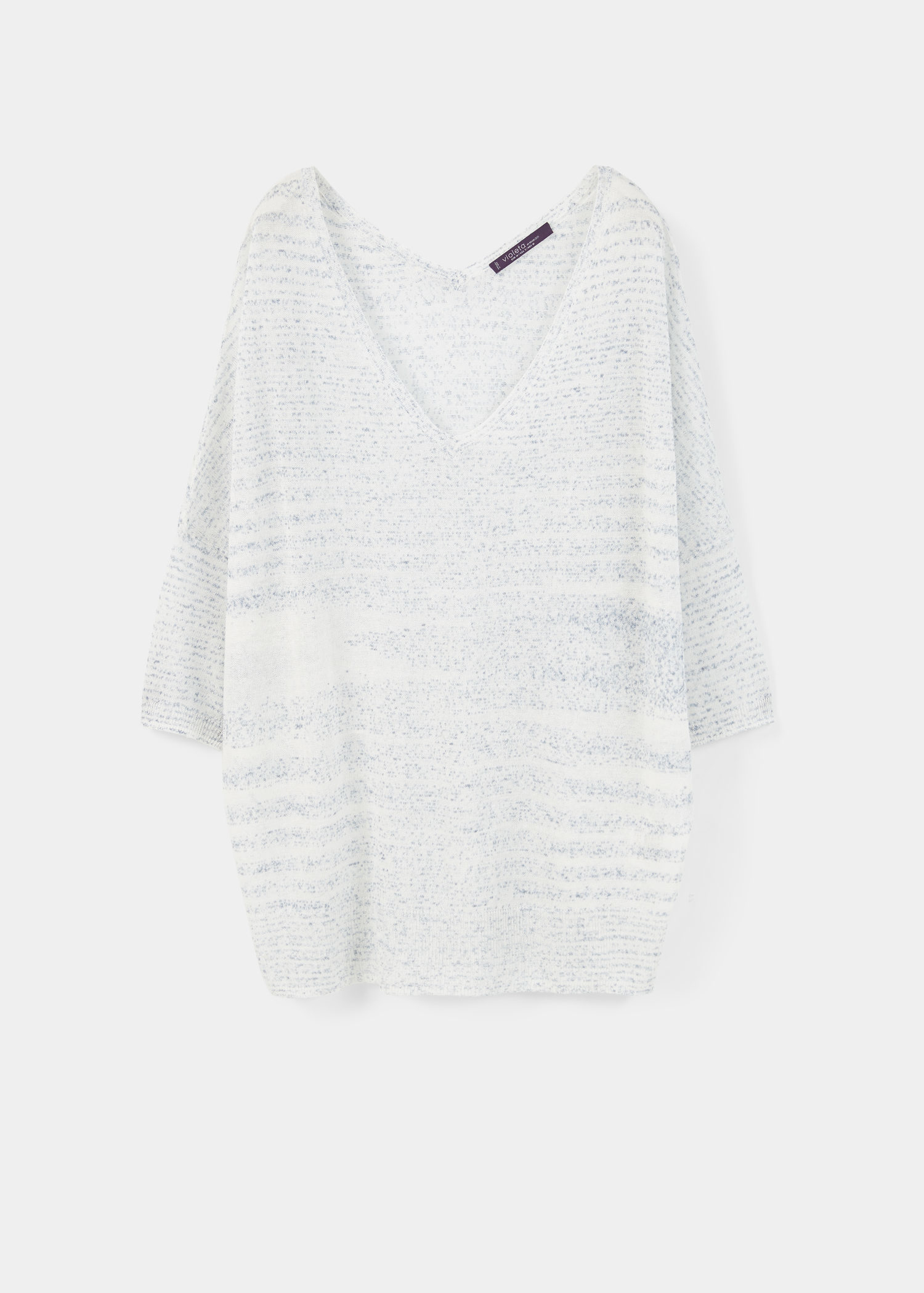 Violeta by mango Fine-knit Striped Sweater in White (Light