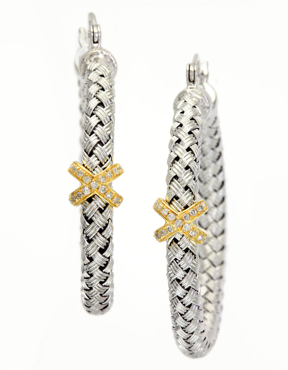 Effy Balissima Sterling Silver Hoop Earrings With 14Kt