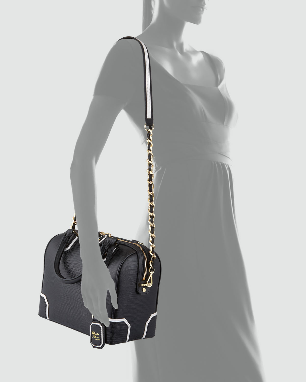 Alice + olivia Olivia Lizard-embossed Bag in Black | Lyst