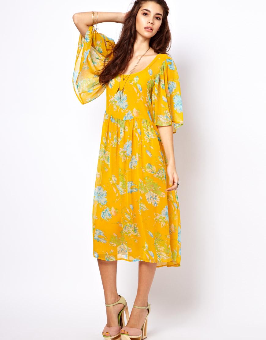 Floral Dress Midi Sleeves