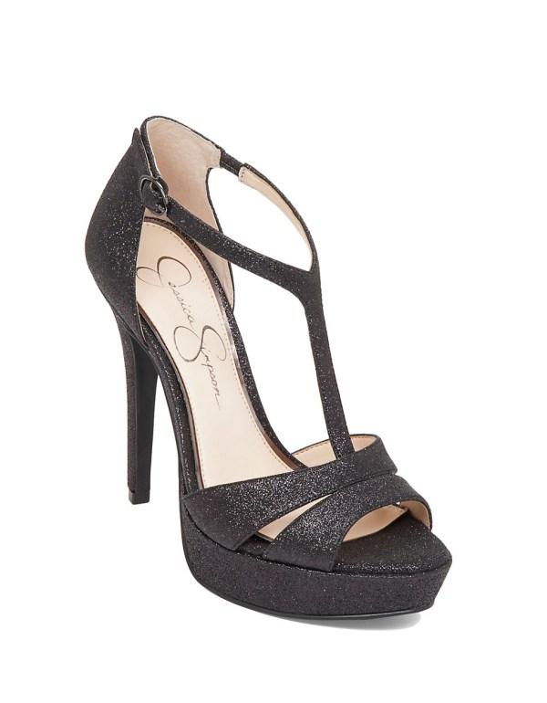 Jessica Simpson Beryl Glitter Platform Sandals In Black Lyst