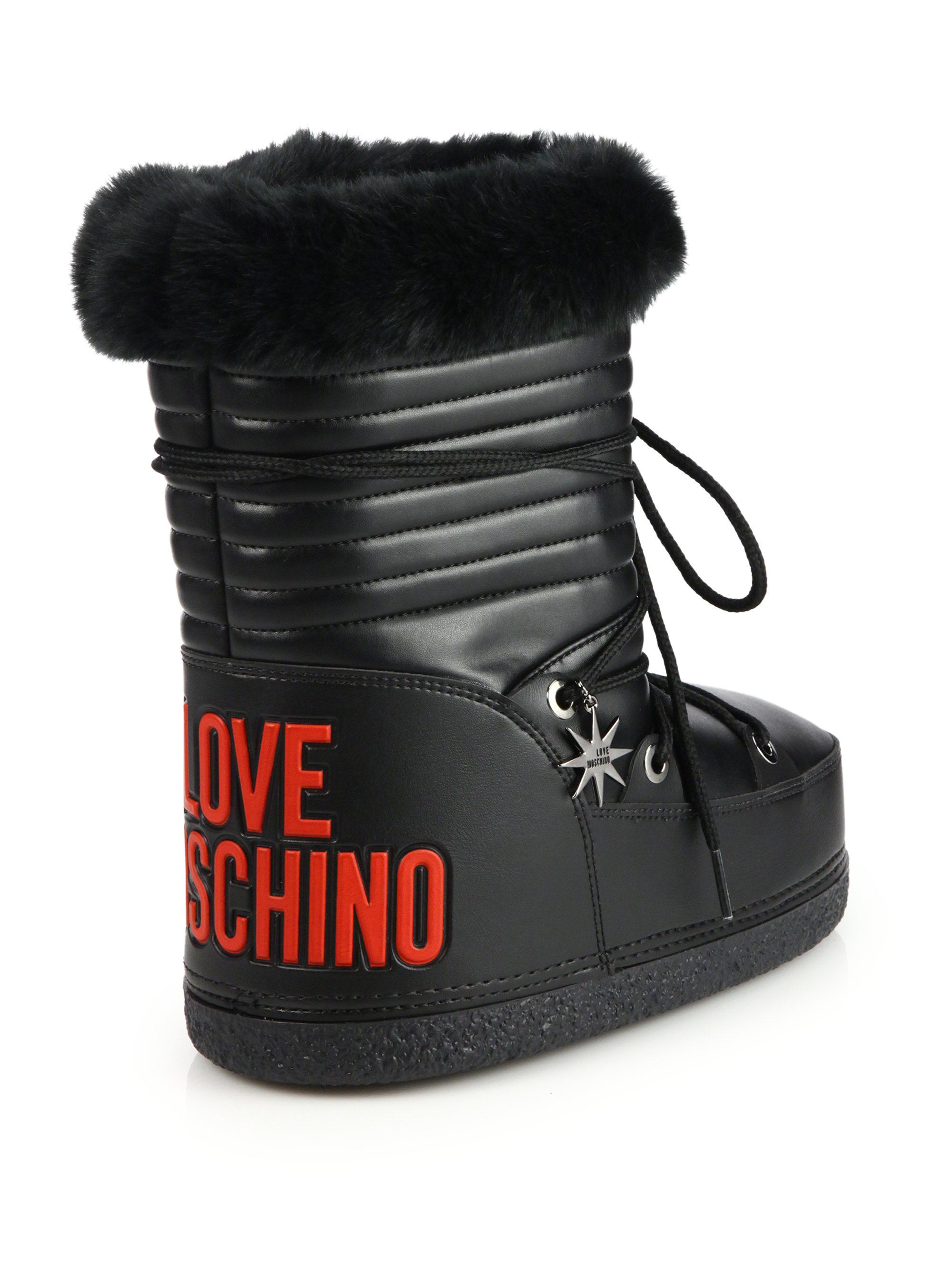 Lyst  Love moschino Faux Furtrimmed Moon Boots in Black
