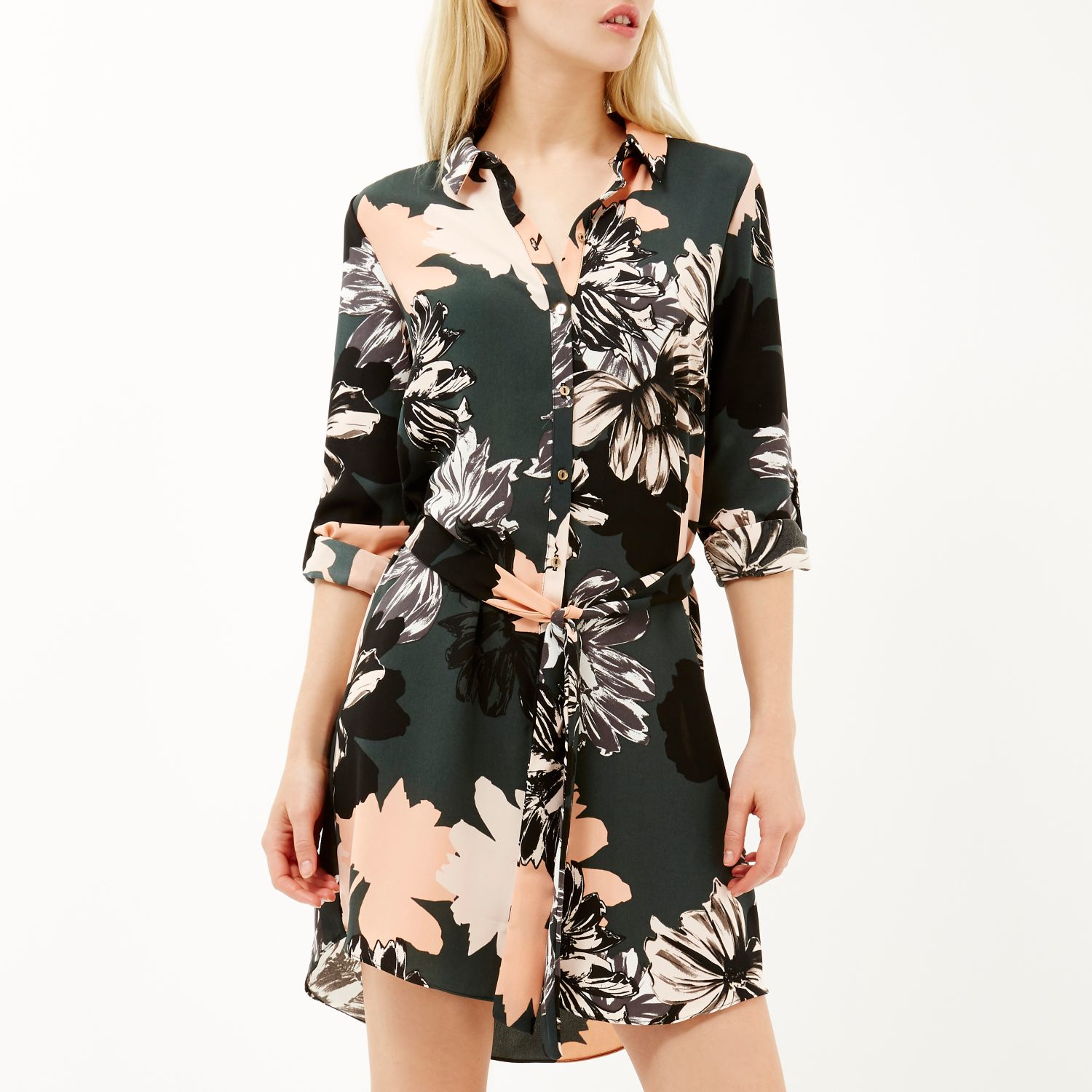 River Island White Floral Shirt Dress