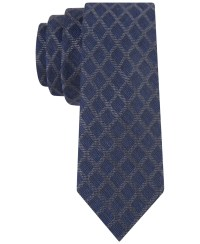 Lyst - Calvin Klein Dark Denim Grid Skinny Tie in Blue for Men