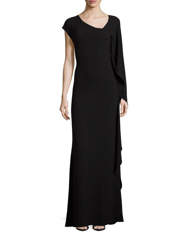 Lyst - Escada -sleeve Asymmetric-neck Gown In Black