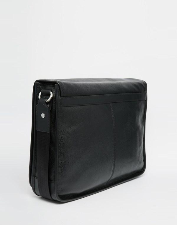 Tommy Hilfiger Malcolm Messenger Bag In Leather Black