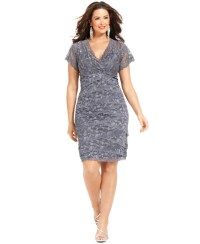 Marina Plus Size Cap-sleeve Lace Cocktail Dress in Gray   Lyst