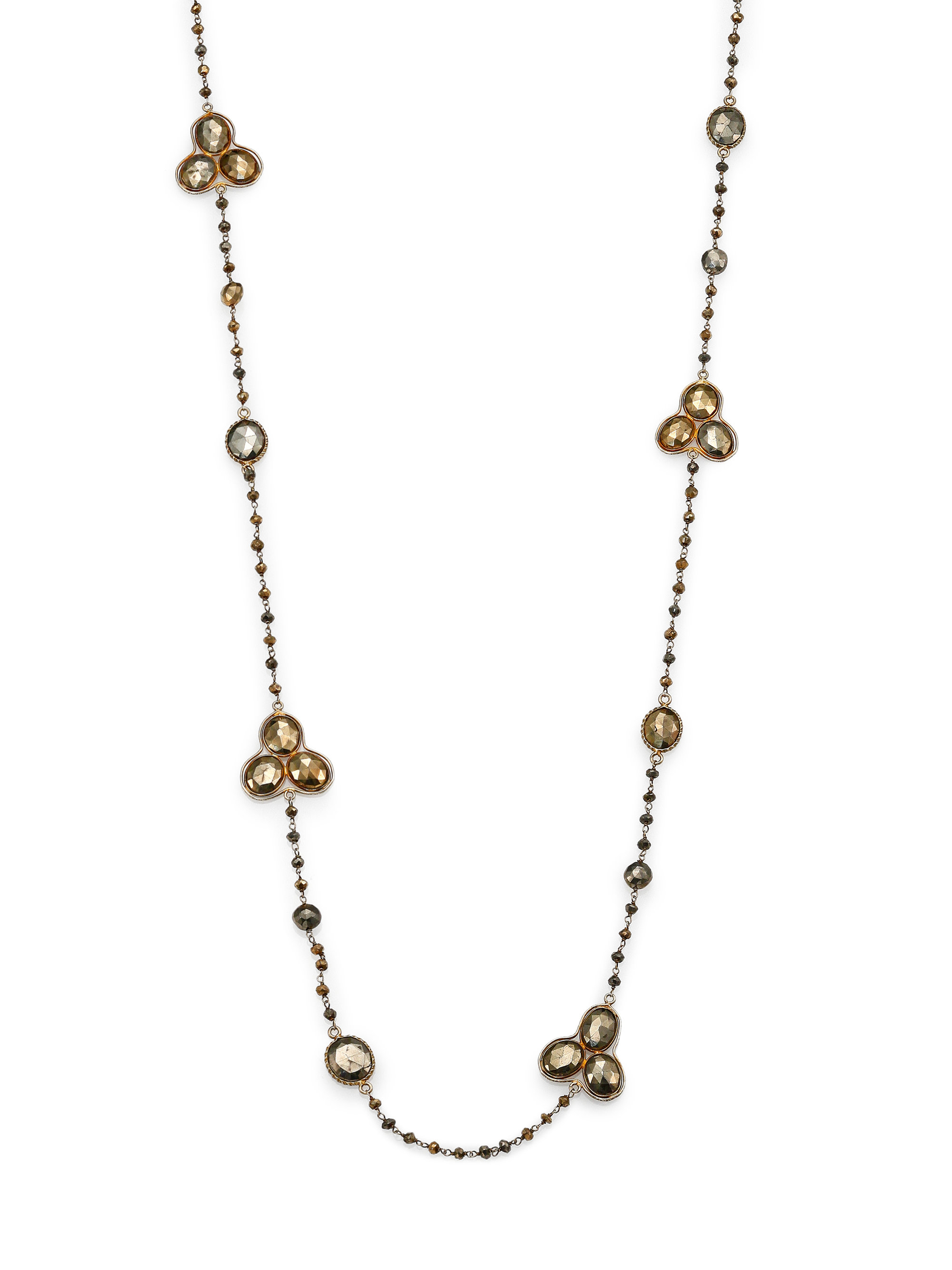 Chan Luu Pyrite Beaded Station Necklace In Metallic