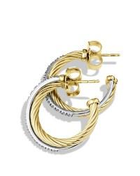 David yurman Crossover Small Hoop Earrings With Diamonds ...