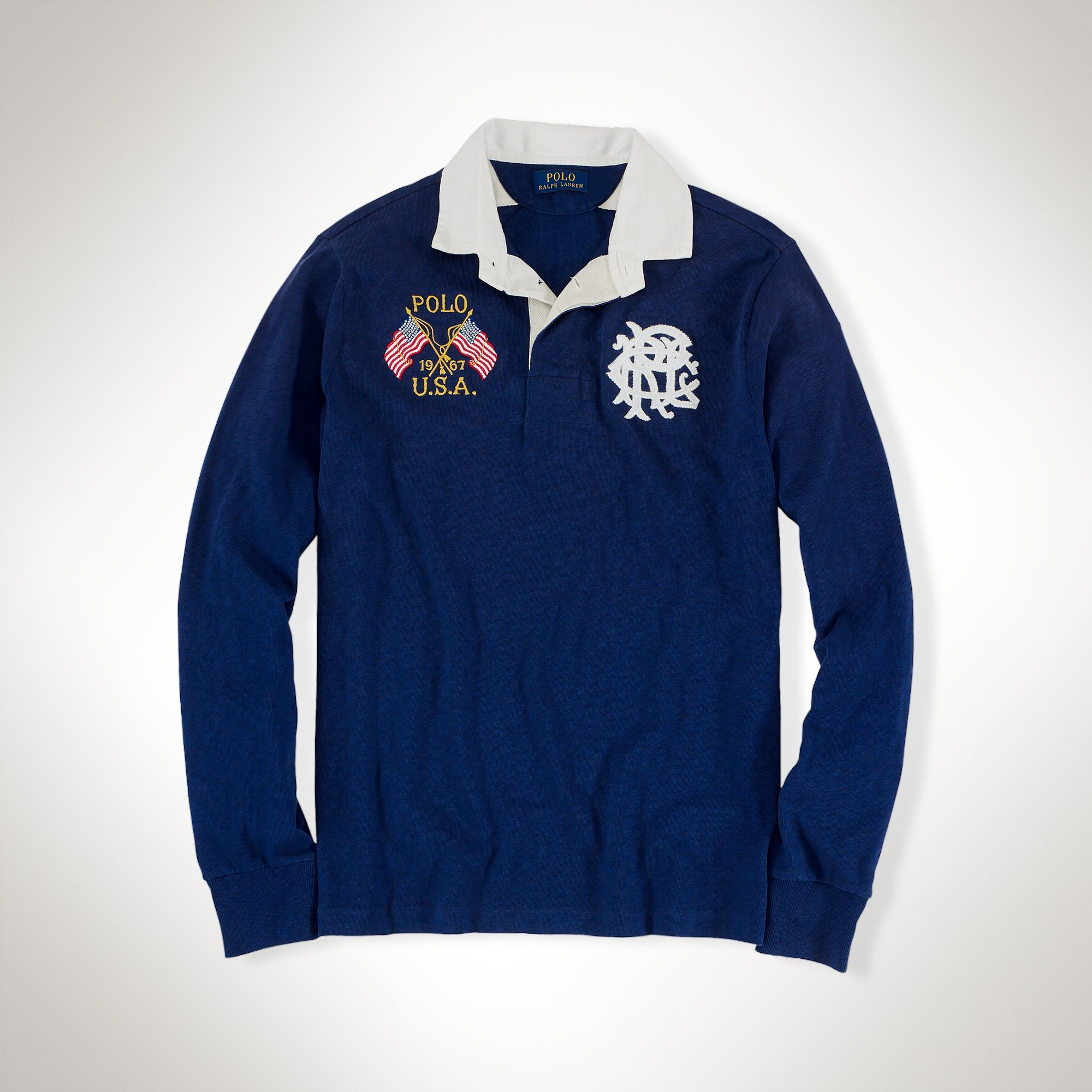 Polo Ralph Lauren Usa CrossedFlags Rugby Shirt in Blue
