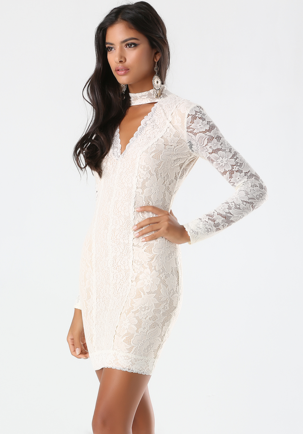 Bebe Lace Panel Mock Neck Dress in Natural  Lyst