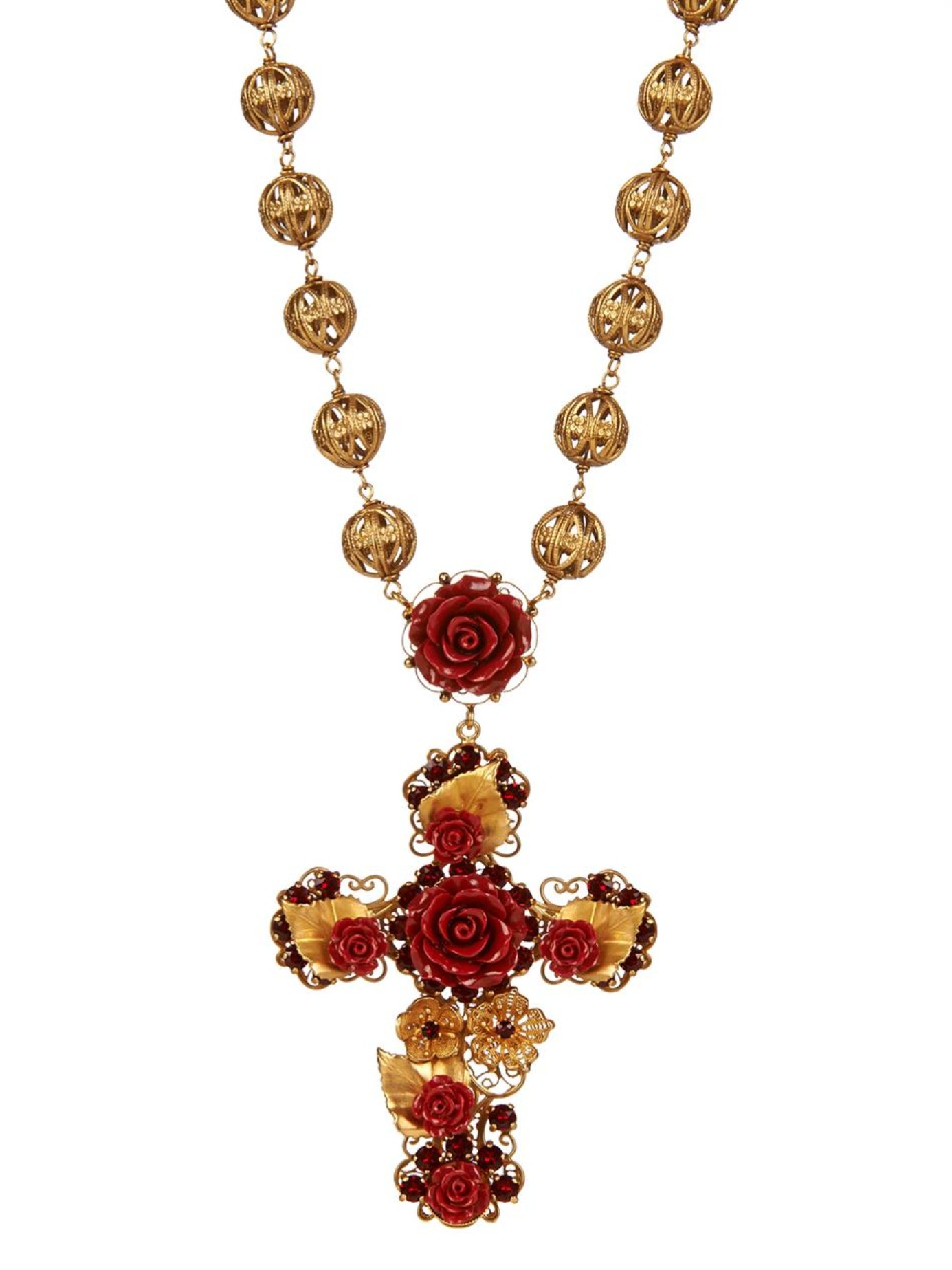 Lyst Dolce Amp Gabbana Multi Medal And Cross Necklace In Red